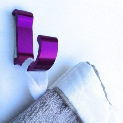 Patère color design aluminium mauve